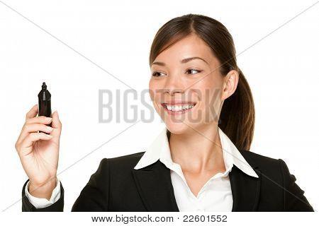 mujer de negocios escritos con lápiz en la pantalla virtual con espacio de copia de texto o diseño. Youn hermosa