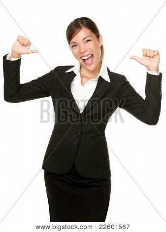 cheerful confident young business woman pointing at herself cheering happy. Beautiful mixed race Caucasian / Asian female model.