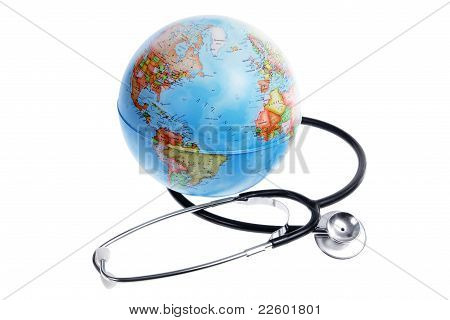 World Globe And Stethoscope