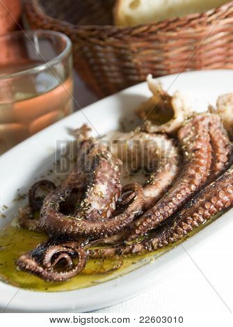 Marinated Octopus With House Wine Greek Island Taverna Specialty