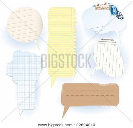 Set of speech bubbles cut of various kinds of paper.  Vector.