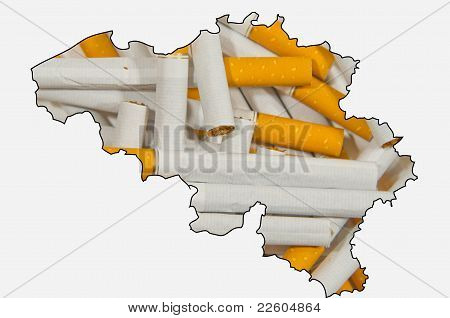 Outline Map Of Belgium With Cigarettes In Background