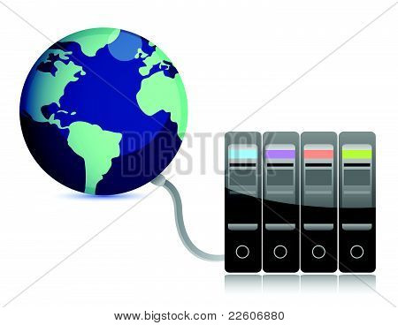 abstract presentation of the server on earth