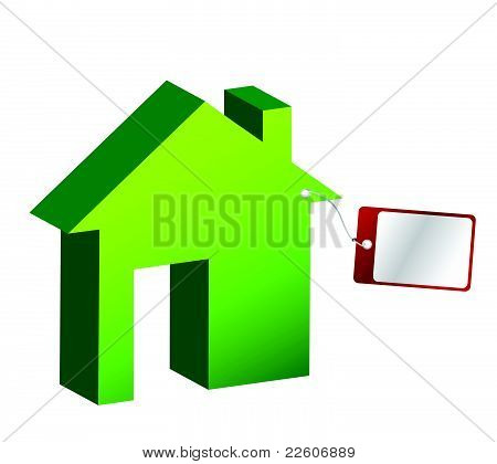 House with price tag illustration design