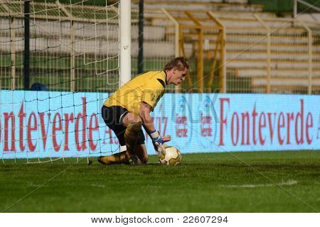 KAPOSVAR, HUNGARY - JULY 30: Lubos Hajduch in action at a Hungarian National Championship soccer game - Kaposvar (green) vs Videoton (white) on July 30, 2011 in Kaposvar, Hungary.