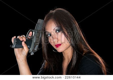 Asian Woman With Gun