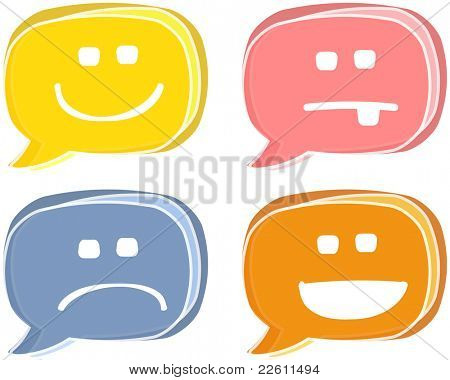 Emoticons, smiling and sad faces, retro look speech bubbles illustration