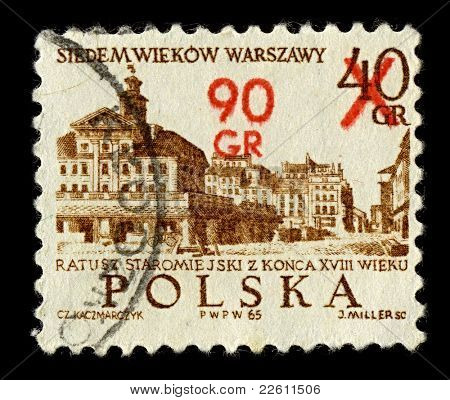 POLAND-CIRCA 1965:A stamp printed in POLAND shows image of Old City Town Hall in Szczecin (Polish Ratusz Staromiejski w Szczecinie) - the present day shingle-roofed Town Hall, circa  1965.