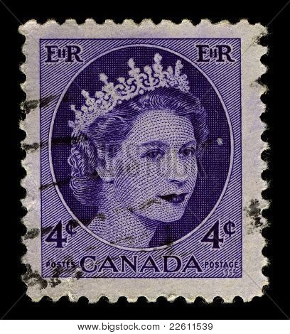 CANADA-CIRCA 1954:A stamp printed in CANADA shows image of Elizabeth II (Elizabeth Alexandra Mary, born 21 April 1926) is the constitutional monarch of United Kingdom in blue, circa 1954.