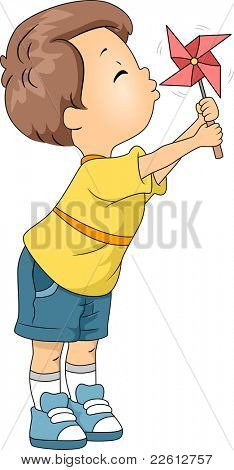 Illustration of a Kid Playing with a Pinwheel