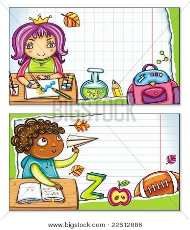 Vector banner with cute children sitting at the desks and school design elements. Copybook background, space for your text