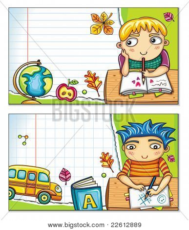 Vector banner with cute children sitting at the desks and school design elements. Copybook background, space for your text.