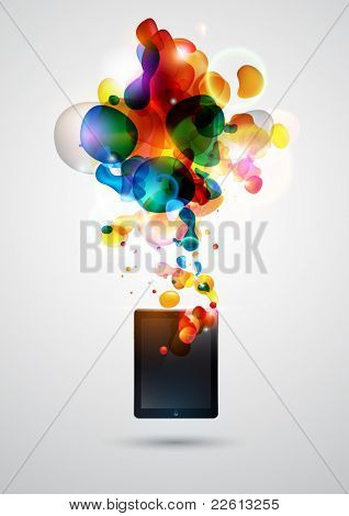 Abstract background with  tablet computer.