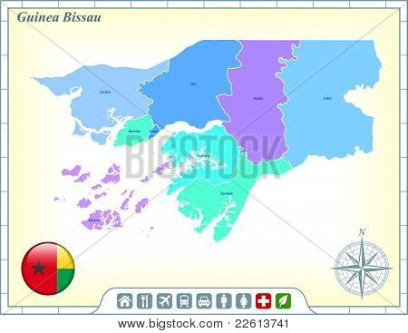 Guinea Bissau Map with Flag Buttons and Assistance & Activates Icons Original Illustration