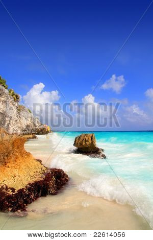 Caribbean beach in Tulum Mexico under Mayan ruins Mayan Riviera