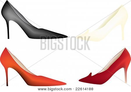illustration with four color woman shoes isolated on white background
