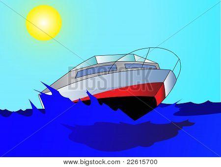 Reise auf schnelle, komfortable Motorboot