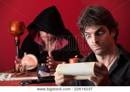 Surprised Man With Fortuneteller