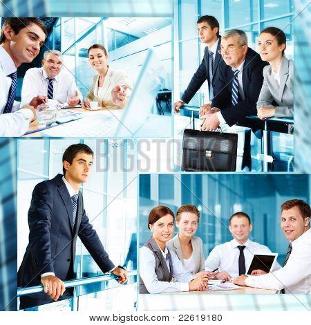 Collage von Geschäftsleuten bei der Arbeit und während der Pause