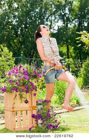 Summer Garden Smiling Woman Watering Hose Flower Grass