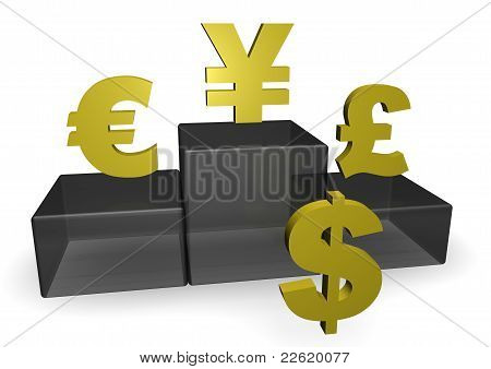 Dollar, Euro And Yen On Podium