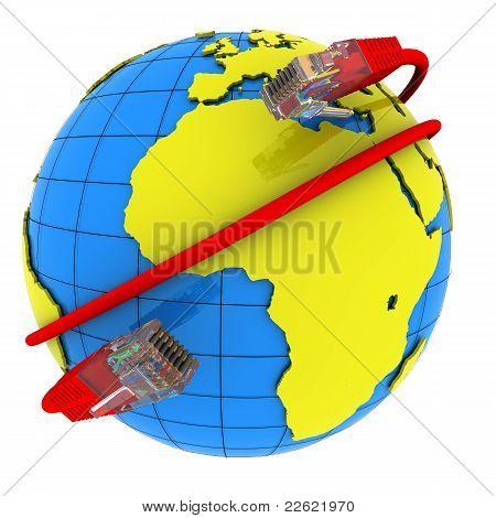 Envoltura de cable de red Internet alrededor del planeta tierra