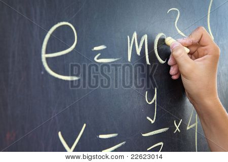 Mathematical assignment on a chalkboard