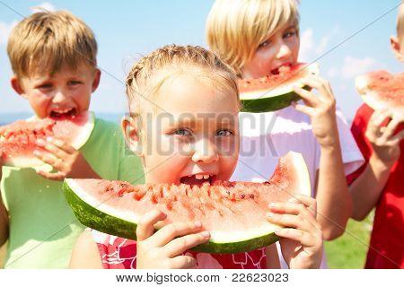 Children with watermelon