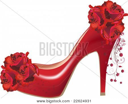 illustration with red rose flowers and shoe isolated on white background