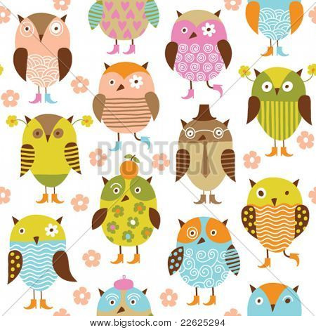seamless pattern with cute cartoon birds