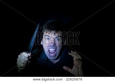 Crazy Person With Knife