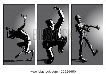 Werewolf, Frankensteins Monster and Mummy Dance : Bigstock