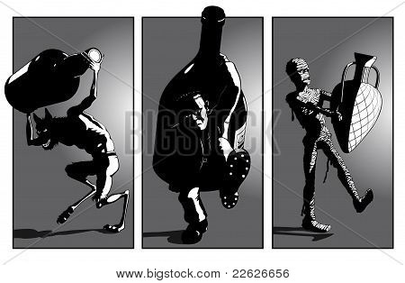 Werewolf, Frankensteins Monster and Mummy Carry Monster Bottles - perhaps to  a bring a bottle party? : Bigstock