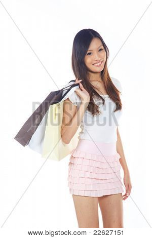 Happy and Smiling Asian Lady with Shopping Bags