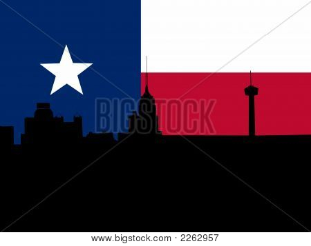 San Antonio With Flag