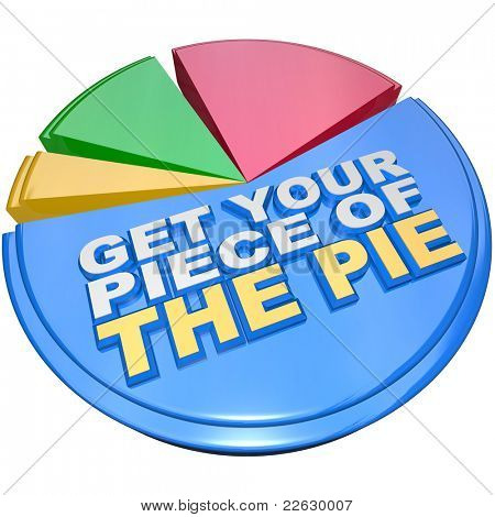 A colorful pie chart measuring share of wealth features the words Get Your Piece of the Pie as encouragement to claim your fair share of money, income and financial wealth