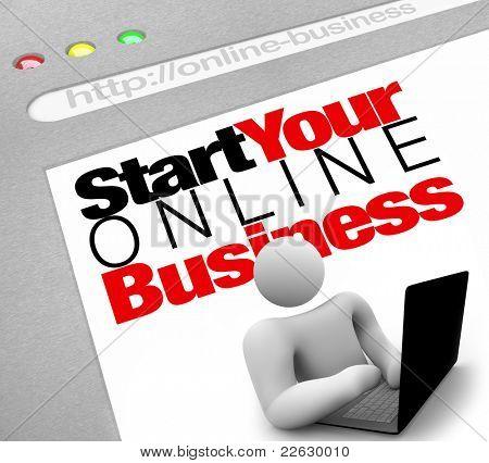 Ein Webseite-Bildschirm verspricht, weisen Sie zum Einrichten und starten Ihre eigene Web-Präsenz für Ihre