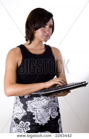 Woman With Wireless Keyboard 1