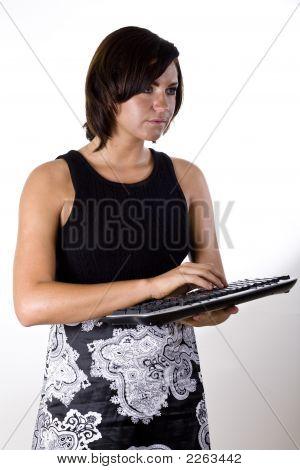 Woman With Wireless Keyboard 1