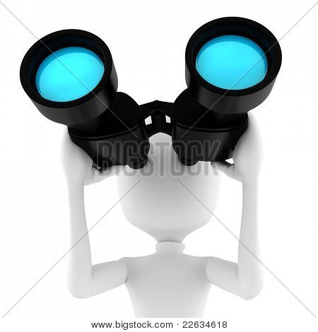 3d man holding a binocular searching for opportunities