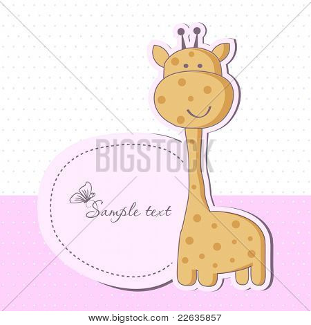 Baby girl shower card with cute giraffe