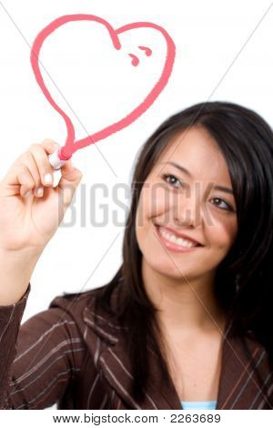 Girl Drawing A Heart Shape