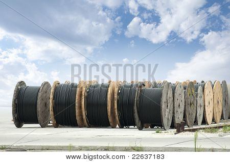 Large Rolls Of Black Cables