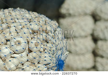 Mesh Bag With Garlic