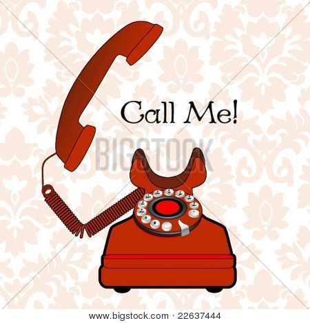 retro phone - off the hook  - damask pattern background