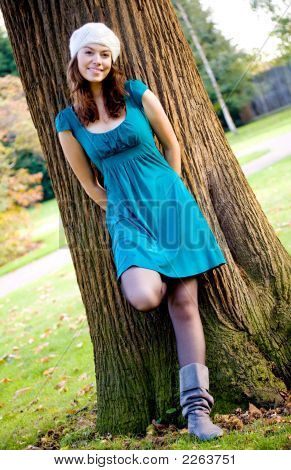 Beautiful Fashion Woman In A Park
