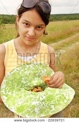 Teenage Girl With Mushrooms