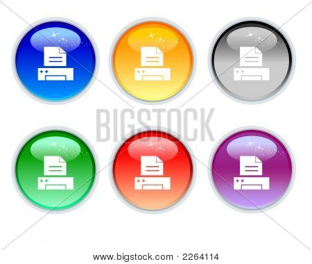 Six Color Crystal Print Icons And Button