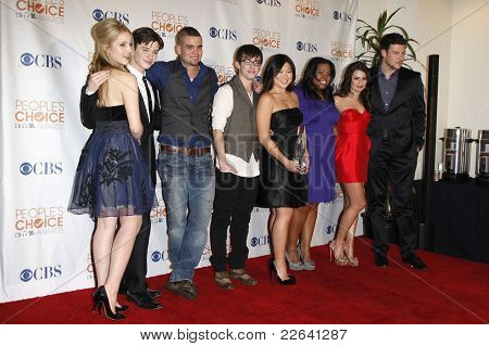 LOS ANGELES - JAN 6: US actors/cast members of the show 'Glee' pose in the press room at the People's Choice Awards 2010 at the Nokia Theatre L.A. Live on January 06, 2010 in Los Angeles, California
