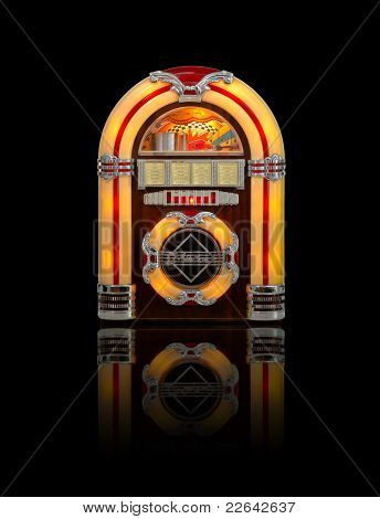Old Jukebox Isolated On Black